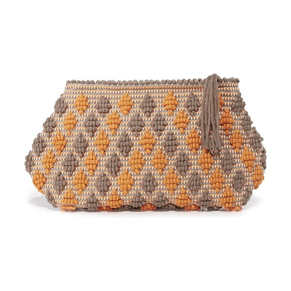 Antonello piatta rombetti clutch in dark taupe/dark orange - A slouchy Antonello clutch with allover pom-pom texture....