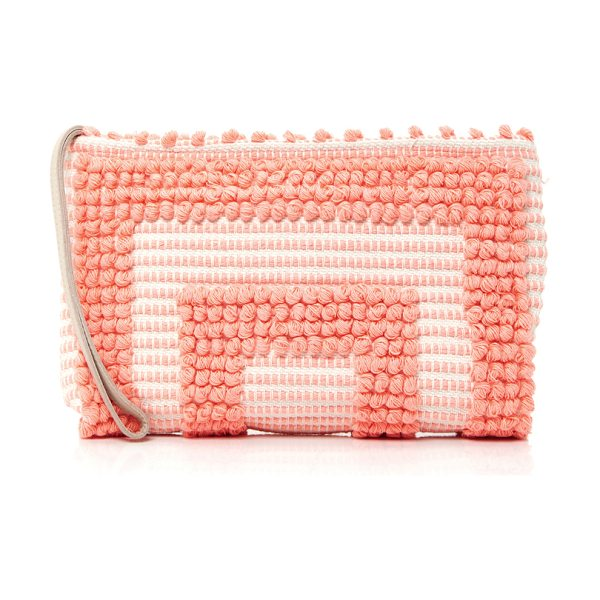 Antonello Tula Geometric Clutch in coral - This clutch by *Antonello* features monochromatic...