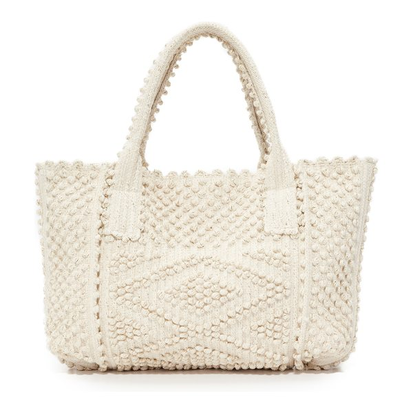 ANTONELLO urtei rombi tote - Rows of small pom-poms form raised stripes on this...