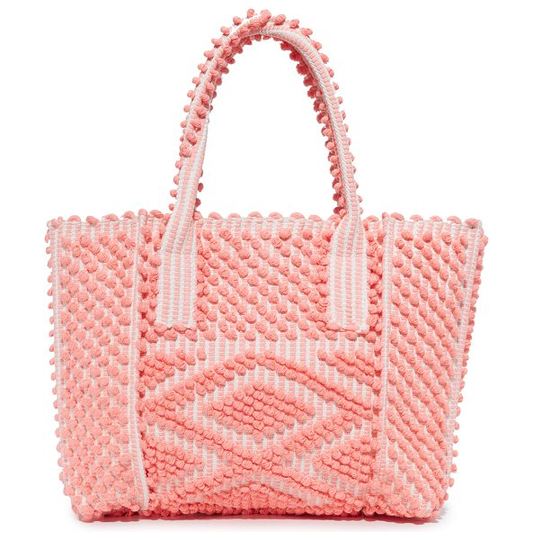ANTONELLO urtei tote - Rows of small pom-poms form colorful stripes on this...