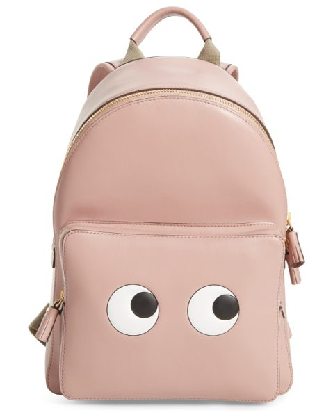 Anya Hindmarch eyes mini leather backpack in rose - Curious eyes keep an eye out at the pocket of a playful...