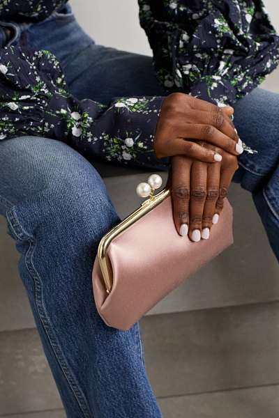 Anya Hindmarch maud faux pearl-embellished satin clutch in pink