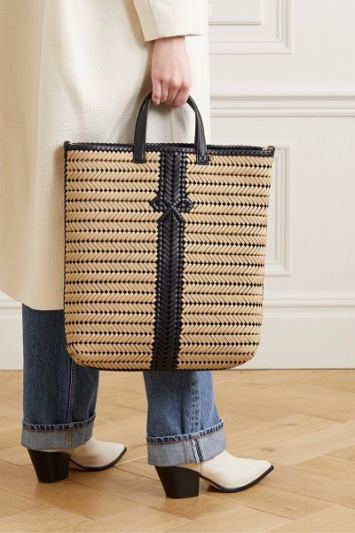 Anya Hindmarch neeson tall woven leather-trimmed rope tote in neutral