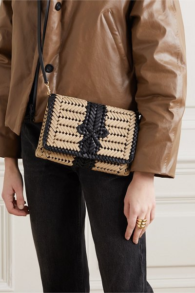 Anya Hindmarch neeson woven leather-trimmed rope shoulder bag in neutral