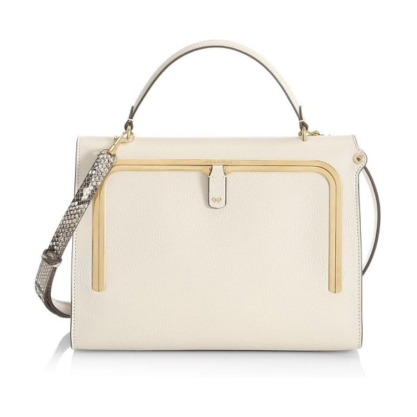 Anya Hindmarch postbox leather satchel in chalk natural