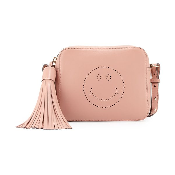 Anya Hindmarch Smiley Leather Crossbody Bag in pink - Anya Hindmarch leather crossbody bag with perforated...