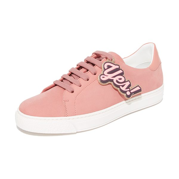 Anya Hindmarch tennis shoe wink sneakers in powder pink - A winking emoji and 'Yes!' lettering add a playful feel...