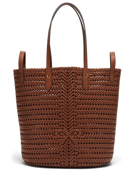 Anya Hindmarch the neeson small two-way woven-leather tote bag in tan