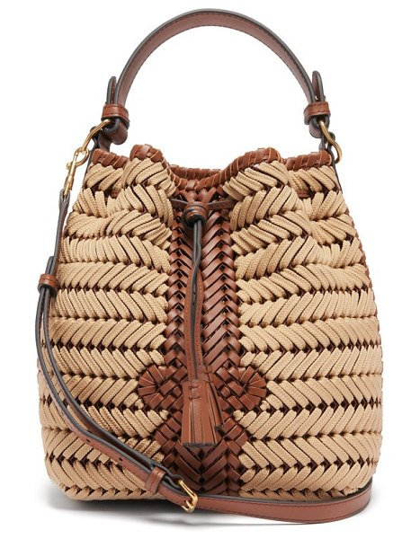 Anya Hindmarch the neeson small woven-leather and rope bag in beige multi
