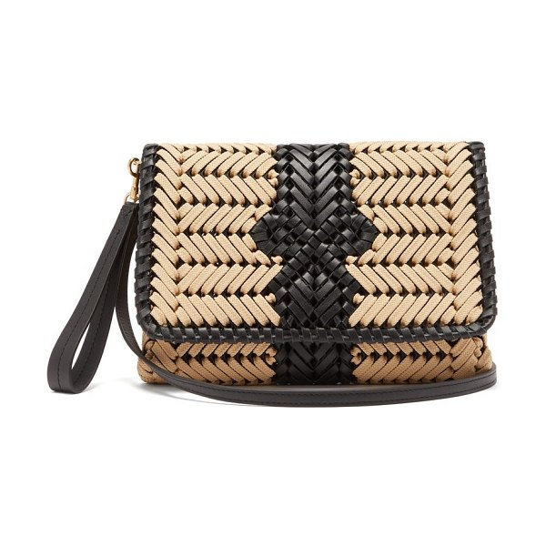 Anya Hindmarch the neeson woven leather-trimmed cross-body bag in beige multi