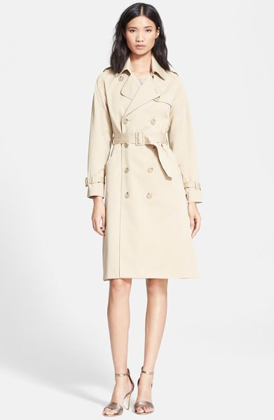 A.P.C. double breasted gabardine trench coat - A creamy monochromatic palette and fuller A-line...