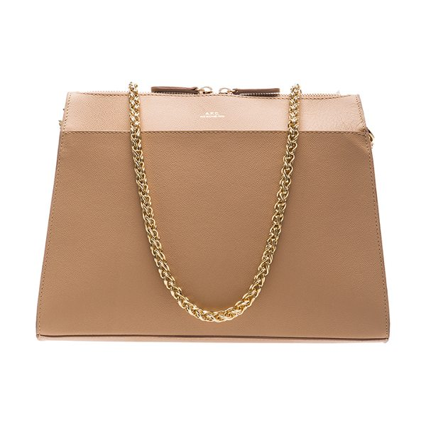 A.P.C. Edith bag in neutrals - Cowskin leather with canvas fabric lining and gold-tone...