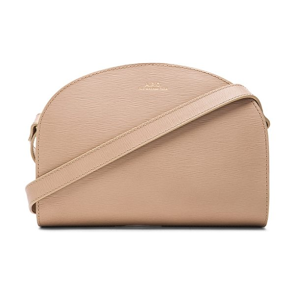 A.P.C. Half moon bag in neutrals - Calfskin leather with canvas fabric lining and gold-tone...