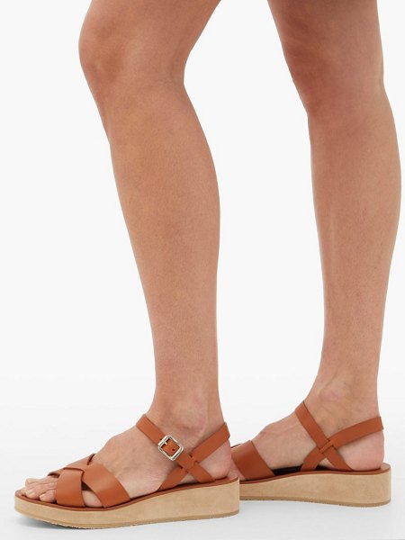 A.P.C. originales leather and suede platform sandals in tan