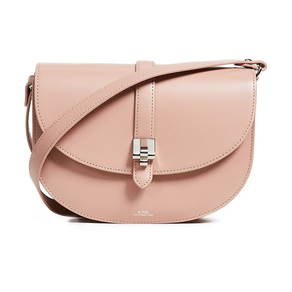 A.P.C. sac saddle bag in rose - Leather: Calfskin Magnetic closure at front Patch...