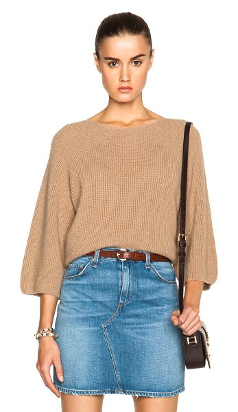 A.P.C. Verneuil sweater in neutrals - 100% camel hair.  Made in Romania.  Knit fabric.