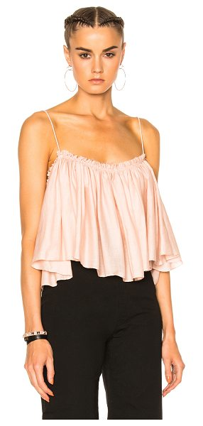 Apiece Apart Apiece Apart Sanna Cropped Camisole Top in pink - 100% cotton.  Made in India.  Dry clean only.  Shirred...