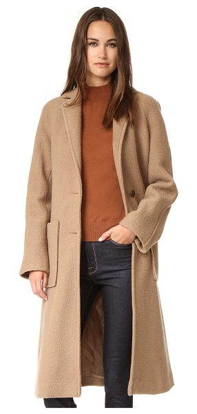 Apiece Apart taos wrap coat in camel - A cozy wool Apiece Apart coat. Notched lapels join at...