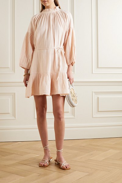 Apiece Apart victoria belted gathered ruffled cotton-gauze mini dress in blush