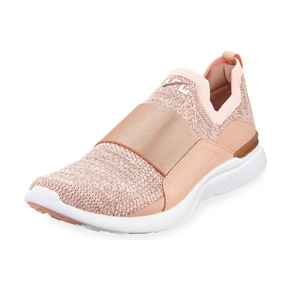 APL: Athletic Propulsion Labs Techloom Bliss Metallic Knit Slip-On Running Sneakers in rose gold