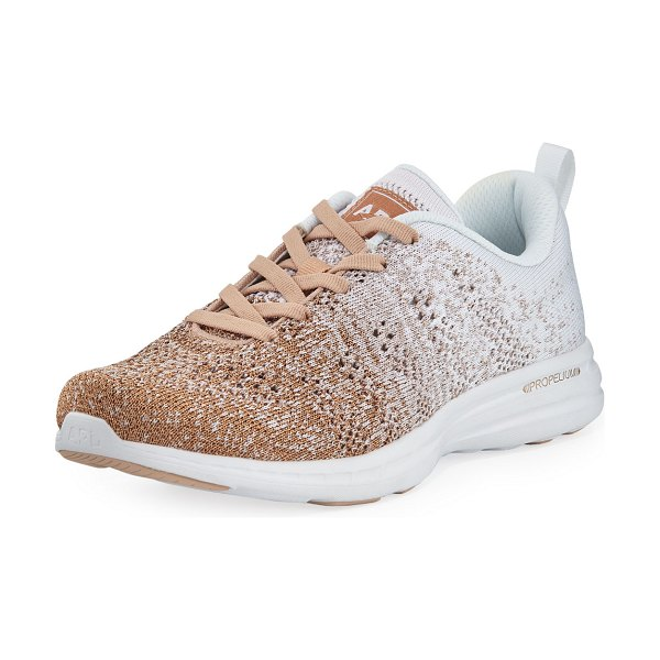 """APL: Athletic Propulsion Labs Techloom Pro Ombre Metallic Knit Sneakers in rose gold - APL: Athletic Propulsion Labs """"Techloom Pro"""" running..."""