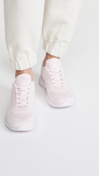 APL: Athletic Propulsion Labs techloom pro sneakers in bleached pink/metallic pearl/w