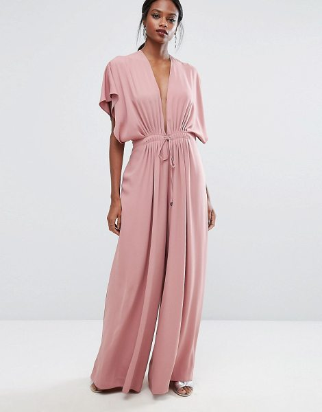 AQ/AQ AQ/AQ Plunge Wide Leg Jumpsuit in pink - Jumpsuit by AQ/AQ, Smooth woven fabric, Plunge neck,...