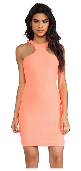 AQ/AQ Mix mini dress in coral - Poly blend. Fully lined. Mesh like fabric. Hidden center...