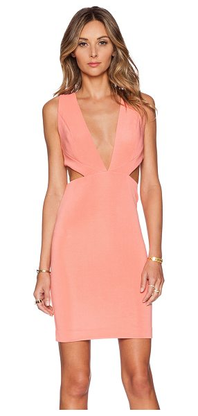 AQ/AQ Rhodium mini dress in coral - 95% poly 5% elastane. Back hidden zipper with hook and...
