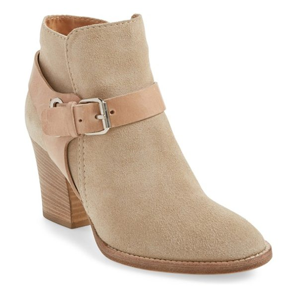 Aquatalia by marvin k. fran waterproof chelsea bootie in sand - A stacked wooden heel and woven elastic-and-leather...