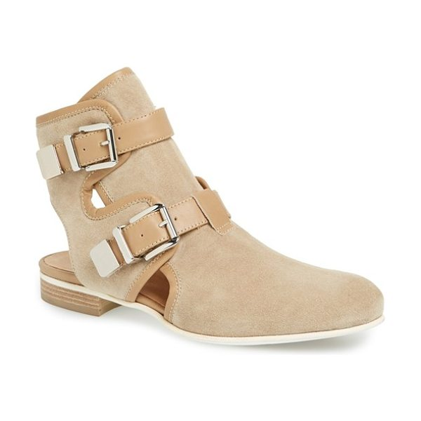 Aquatalia coy suede cutout boot in brown - A bold heel cutout instantly updates a chic, classic...