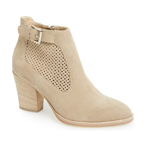 AQUATALIA fabu perforated suede bootie - A perforated panel inset lightens up a lush suede bootie...