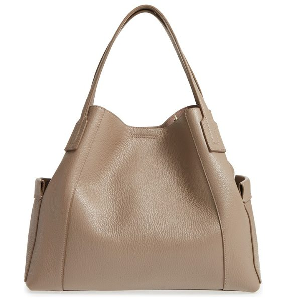 Aquatalia leather tote in taupe - Richly pebbled leather defines the clean, classic...