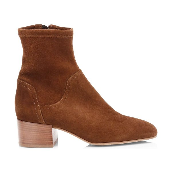Aquatalia lyla stretch-suede ankle boots in chocolate