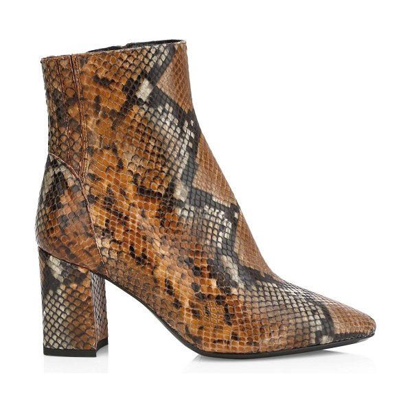 Aquatalia posey snakeskin-embossed leather ankle boots in cognac black
