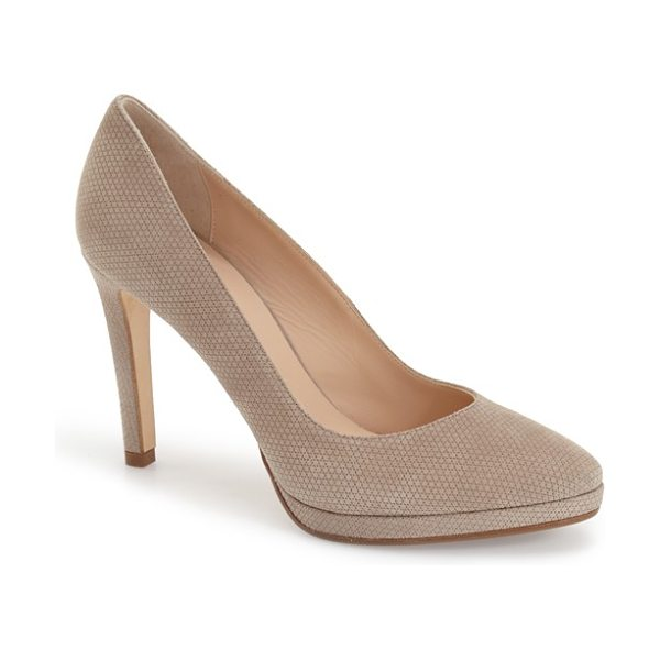 Aquatalia unicia pump in taupe suede - A cushioned footbed and supple leather lining lend...