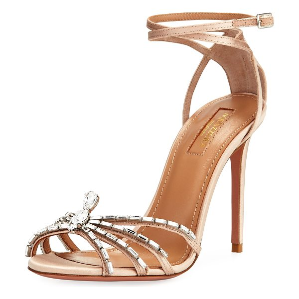 Aquazzura 105mm Ankle-Wrap Spider Sandal in pink - Aquazzura satin sandal. Open toe with crystal spider...