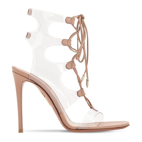 Aquazzura 105mm milos leather & plexi sandals in nude