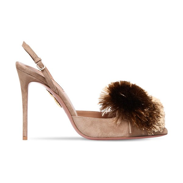 Aquazzura 105mm powder puff suede slingback pumps in beige - 105mm Suede covered heel. Pointed toe. Adjustable buckle...
