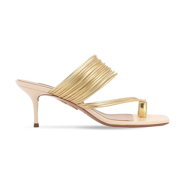 Aquazzura 60mm sunny metallic faux leather sandals in gold