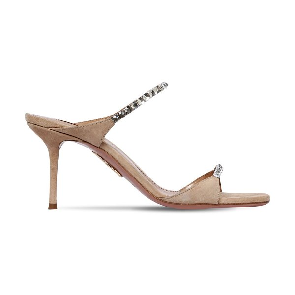 Aquazzura 75mm embellished suede sandals in nude