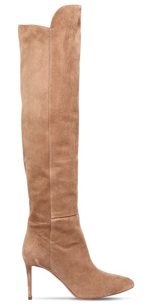 Aquazzura 85mm suede over the knee boots in beige - 85mm Suede covered heel. Suede upper. Stretch shaft. Leather sole