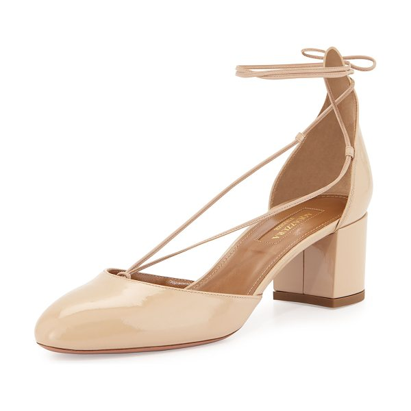 "Aquazzura Alexa Patent Mid-Heel Pump in nude - Aquazzura ""Alexa"" patent leather pump. 2"" covered block..."