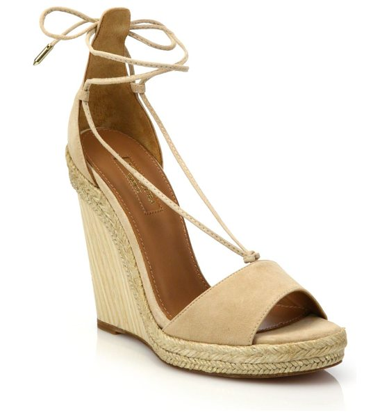 Aquazzura Alexa suede wedge espadrille sandals in nude