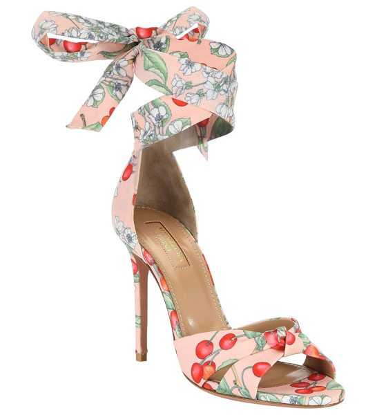 AQUAZZURA all tied up floral sandals - Tie wrapped sandals finished with floral design. Stiletto...