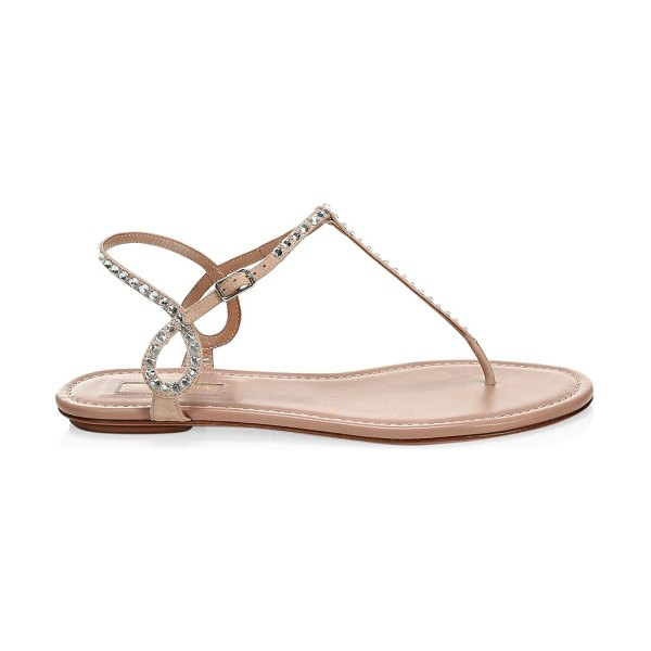 Aquazzura almost bare embellished suede sandals in powder pink