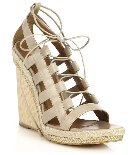 Aquazzura Amazon espadrille & wooden-wedge lace-up leather sandals in beige - Towering with an espadrille and wooden wedge heel, these...