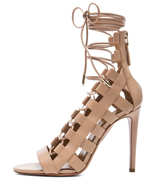 Aquazzura Amazon Leather Heels in neutrals - Calfskin leather upper and sole.  Made in Italy.  Approx...