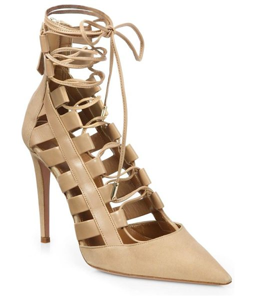 AQUAZZURA amazon leather lace-up pumps - The classic point-toe pump, transformed by a strappy...