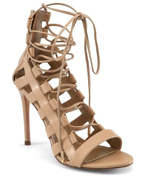 Aquazzura amazon leather lace-up sandals in nude - Whether paired with boyfriend jeans or a lightweight...